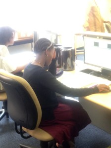 From left, Ahmari Anthony and Pretty Shongwe were working in the classroom in Academic Hall at Point Park University on July 30, 2016. Photo taken by Kyle Smith.