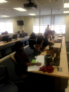 The class is working on their article for the Urban Agenda in the Academic hall at Point Park University on July 30, 2016. Photo taken by Kyle Smith.