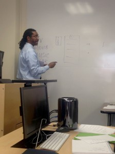 Erv Dyer is teaching a lesson to students about Note taking techniques, in Academic Hall at Point Park University on July 31, 2016. Photo taken by Kyle Smith.