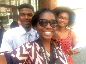 From left, Kyle Smith, Emoni Jones and Ahmari Anthony pose for a photo on Monday, Aug. 1, 2016, near CVS in downtown Pittsburgh. Photo by Emoni Jones.
