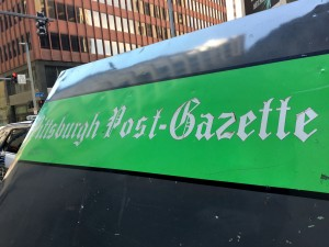 A sign of the Pittsburgh Post-Gazette in Downtown Pittsburgh on Tuesday, Aug. 2, 2016. Photo by Sean Spencer