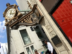 The historic Macy's/Kaufmann's clock in Downtown Pittsburgh on Tuesday Aug. 2,2016. Photo by Sean Spencer